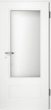 Weiße gefräste Tür Arto 41 mit großem Glaseinsatz (Arto-41-LA)