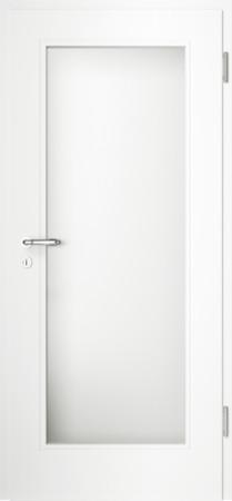 Weiße gefräste Tür Chello 10 mit Glaseinsatz (Chello-10-LA)