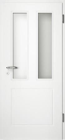 Weiße gefräste Tür Chello 31 mit Glaseinsatz (Chello-31-2LA)