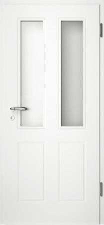 Weiße gefräste Tür Chello 40 mit Glaseinsatz (Chello-40-2LA)