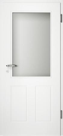Weiße gefräste Tür Chello 40 mit großem Glaseinsatz (Chello-40-LA)