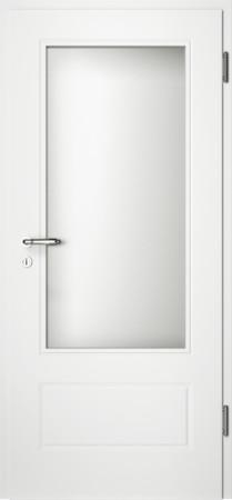 Weiße gefräste Tür Chello 41 mit großem Glaseinsatz (Chello-41-LA)