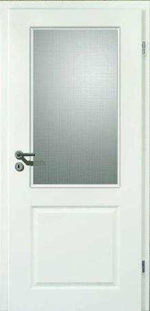 Weißlacktür Formelle mit strukturiertem Glaseinsatz (Formelle F20 Glas Mastercaree)