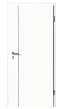 Weißlacktür Light mit zwei tiefen Fräsungen vertikal neben der Türklinke (Light 23)
