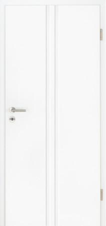 Rift Weißlacktür mit zweifacher, breiter hochkant Fräsung in Türmitte (Rift 21)