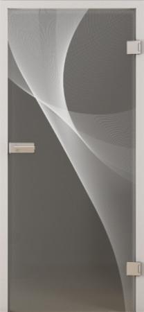 Innentür aus Grauglas mit geschwungenem Schliffmuster (3D LD 623 TwoSides)