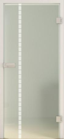 Glastür mit grünlich blickdichtem Glas und Streifenverzierung (Classic LD 598 TwoSides )