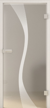 Blickdichte Glastür mit geschwungenen Linien in der Mitte (Deco LD 583 TwoSides)