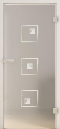 Blickdichte Glastür mit abstrakten Quadraten (Deco LD 587 TwoSides)