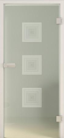 Blickdichte Glastür aus grünlichem Glas mit dreidimensional wirkenden Quadraten (Deco LD 657 TwoSides)