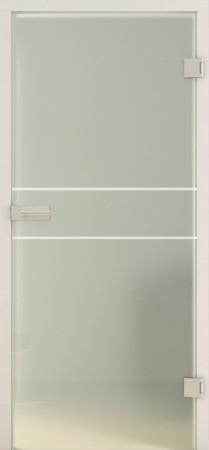 Blickdichte Innentür aus grünlichem Glas mit weißen waagerechten Linien( Lines LD 589TwoSides basic-green)