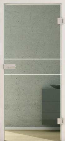 Innentür aus grünlichem Glas mit weißen waagerechten Linien (Lines LD 589 basic-green)