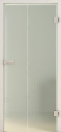 Blickdichte Innentür aus grünlichem Glas mit weißen senkrechten Linien (Lines LD 653 TwoSides basic-green)