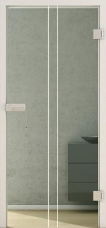 Innentür aus grünlichem Glas mit weißen senkrechten Linien (Lines LD 653 basic-green)