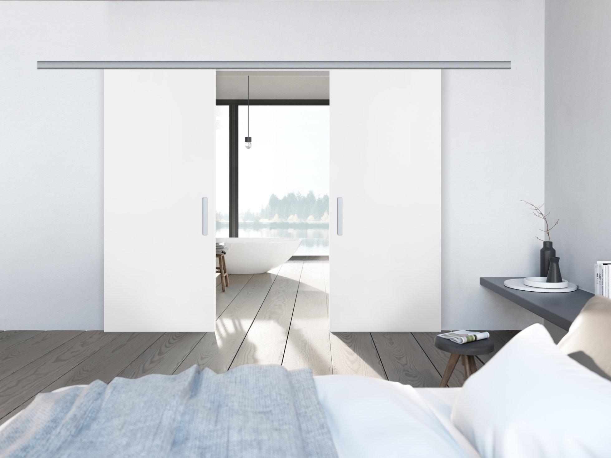 Doppelschiebetür in weiß zur Wandmontage(2-flgl PLANEO120-Holz)